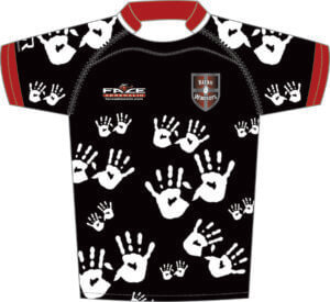 Hand print rugby jersey design